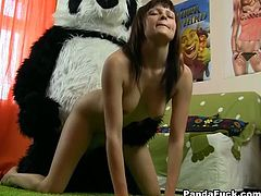 Black head lusty wench goes crazy about hardcore poking of her hot blooded twat. Monstrous Panda- clothed sex partner drills her strongly from behind and in mish way. Watch this dirty fuck in WTF Pass porn clip!
