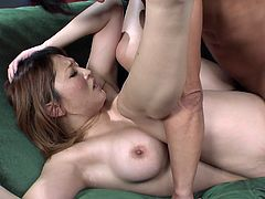 Pretty chunky Japanese hussy Yuki Touma bends over inviting her man to fuck her hairy cunt doggystyle. Fluffy babe rides that dick on top and after missionary style pounding receives pussy creampie.