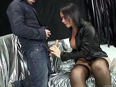 Mean black haired shemale orders her slave boy suck her hard dick. Guy enjoys blowing that shaved cock and licking shemale's sweaty balls.