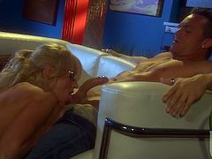 Sexy Stormy Daniels lets her big tits bounce and sway as she hooks up with this guy and has sweaty, intense sex on the couch.