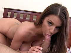 Watch Brooklyn Chase ends up being drizzled by this guy's cum after she shows off her body and sucks on his big cock.