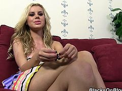 Jessie Rogers relaxes behind the scenes, but she is so horny waiting for her scene that she ends up fucking her glass toy.