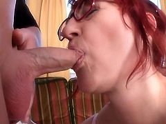 Redhead-BBW-Granny with Glasses fucked by young Guy