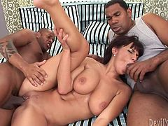 Make sure you take a look at this hardcore scene where the busty milf Veronica Vanoza is fucked by two guys in an interracial threesome that leaves her out of breath.