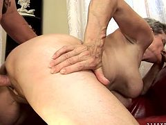 Fat dude fucks horny grannie doggy and missionary style