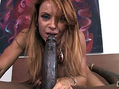 Have fun watching this long haired redhead, with a nice ass wearing a sexy bra, while she goes hardcore before serving a great blowjob!
