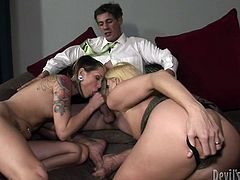 Get a load of this hardcore scene where these sexy ladies leave you speechless as they have a threesome with a lucky guy.