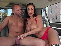 She's experienced and has that fit, healthy body we want to see at a mommy! Lisa is the host of the bang bus and she knows how to pick up guys. Lisa loves big, muscled men so the dude she found stepped in happily and undressed. Now she's getting her big boobs sucked and prepares to swallow cock