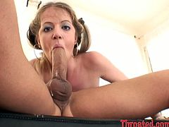 Fine looking blonde sexpot Anita Blue works on fat white cock with her spit dripping mouth. Anita gives amazing deepthroat blowjob proving that she's a good girl.