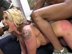 Masturbate watching this tattooed blonde, with giant fake tits and a shaved cunt, while she gets her pussy banged by two horny black guys.