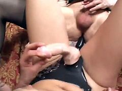 Share this with your friends! A brunette cougar, with big jugs and a hairy pussy, goes hardcore with a submissive dude who does anything for her.