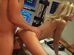 Witness this video where a blonde babe, with a nice ass wearing glasses, gets fucked hard by a steamy guy at an office. They are on fire!