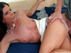 Beautiful skinny brunette India Summer, his buddys mom, is next to him and he has nothing but dirty hard fucking on his mind. He pulls her tight panties aside to give her shaved pussy a lick and then she takes his love bone in her pink hole.
