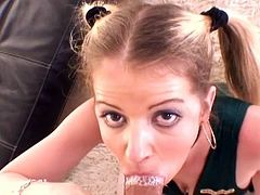 Teenager Anita Blue is sucking so deep