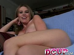 Watch this blonde babe with huge round tits and sexy ass Daphne Rosen is sucking a huge cock of Trevor.See how she grabs that big hard cock and deep throats it.