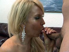 Check out this hardcore scene where the horny blonde milf Erica Lauren if fucked by this guy while wearing high heels.