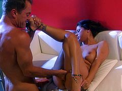 This sexy girl gets her shaved pussy fucked nice and hard then when he is ready to burst he pulls out and shoots his load all over her feet.