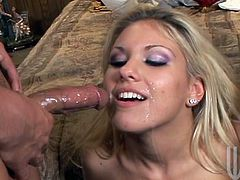 Sexy Aubrey Addams sucks big cocks passionately and also gets her vagina fingered. This blondie gets fucked hard by two different guys.