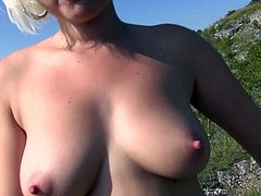 Pure amateur Euro babe with big boobs fucks for money outdoors