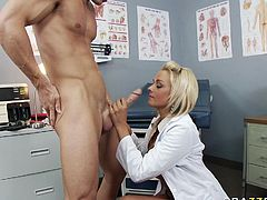 Full figured blonde nurse gets hammered by patient in office