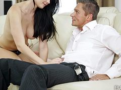 Lucy Li is a black haired beautiful European girl. Topless kitty with sexy natural tits puts her beautiful lips on guys fat cock. She takes off her panties and gets her tight pussy used after blowjob.