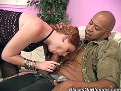 She makes her man watch as she gets her pussy pounded by a hung black guy then she lets both guy's fire their hot loads into her mouth.