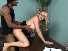 Sexy blonde milf Angela Attison is always ready for a big black cock. She gets on her knees to deepthroat it and then takes it ballsdeep into her horny pussy.