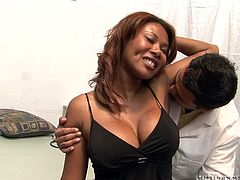 Kymora Lee is a thick ebony milf with an amazing ass and big round breasts. Check out this hardcore scene where this hottie ends up with her tits covered by semen after being nailed.