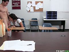 Gorgeous black haired teacher orders her student to get naked. Beauty grabs his big cock and starts sucking it with passion. Thenhorny teacher sits on her desk and gets her moist pussy eaten.