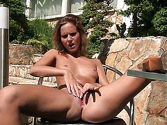 Blonde oriental Peach with shaved beaver touches her boobs playfully