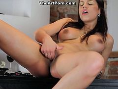 Stunningly beautiful Latina goddess Angel Rivas takes off her tight blue dress. Hottie exposes her natural B cups and fondles her puffy pussy with her tender hands.