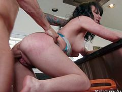 Petite brunette Katie St Ives is a slutty student girl that makes professors sex fantasies a reality. Cutie with small tits gets her trimmed bush tongue fucked and then takes his dick in her pink wet hole. He fucks hot girl in the comfort of his home.