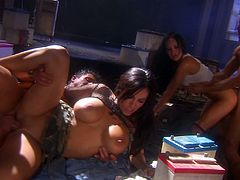 Sizzling Alektra Blue and Veronica Rayne demonstrate their excellent blowjob skills to two dudes. Then chicks take hard pussy pounding.