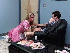 Glamorous Samantha Saint comes up to some guy in a suit. She takes his dick out of the pants and gives a blowjob. Then Samantha takes the dress off. She gets fucked in her mouth and pussy.