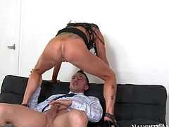 Romi Rain is a slut who fuck every new guy at the office. Passionate leggy brunette with sexy ass and juicy boobs sucks his stiff cock like crazy before she takes it up her dripping wet vagina.