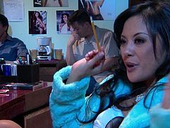 Gorgeous Asian chick Kaylani Lei is trying hard to satisfy two men. She sucks and rubs their wangs and then gets banged in cowgirl position and doggy style.