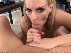 No other blonde can please cock with tongue and lips like this Darryl Hannah does. She sucks this dude's massive cock with great enthusiasm. Such a skillful slut!