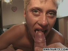 A very naughty blonde amateur girlfriend homemade hardcore gangbang with huge facial cumshots ! Nice bukkake !