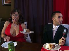Provocative MILF with huge boobs gets horny at the luxury dinner. She seduces handsome guy by flashing her tit right at the table. They both head to the restroom where she gives him deepthroat blowjob.