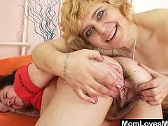 Gray mamma amateur dames one of them in addition to furry cunt riding double sided fake cock