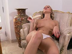 blonde inserts a toy