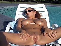 Tasty Jelena Jensen Takes A Sun Bath With Her Shaved Pussy Wide Open