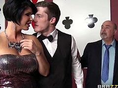 Stunning brunette MILF is ready for some hardcore banging at the casino. After she gave this lucky dude a nice blow she took his schlong into her horny pussy.