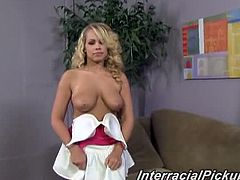 Interracial Pickups brings you a hell of an interracial free porn video where you can see how the alluring blonde temptress Britney Young rides a black cock pov style til she cums.