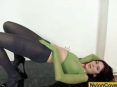 Super princess plus attractive skinny body and nice tits wears nylon pantyhose on her legs on her titties and also on her lovely face