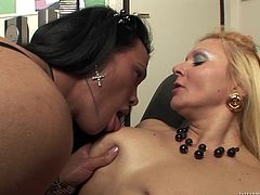 Have a look at this hardcore scene where a sexy blonde has her wet pussy drilled by a tranny's big cock after giving this shemale one hell of a blowjob.