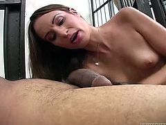 Dark head svelte rapacious hoe with tiny boobs and her sex stud rest on floor in prison. This freaky girlie bites those luscious balls and swallows that sweet penis deep throat. Look at his hot cell fuck in Fame Digital porn clip!