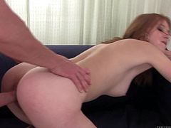 Make sure you have a look at this hardcore scene where the sexy redhead Linda Sweet has her hairy pussy drilled by this guy's big cock as you hear her moan.