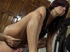 Stunning assy redhead is riding on the dick