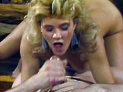 Blond haired bitchy wench with huge Monkey Lumps Ginger Lynn has sweet massive cock deep throat